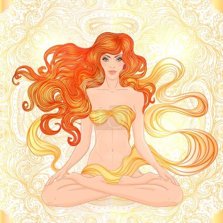Caucasian Girl sitting in Lotus pose