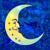 Moon with human face  on  mosaic background