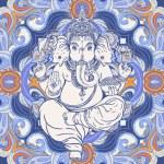 Hindu Lord Ganesha over ornate colorful mandala. V...