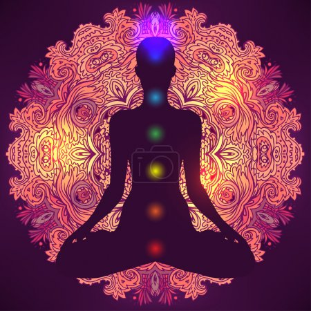 Illustration for Woman ornate silhouette sitting in lotus pose. Meditation, aura and chakras. Vector illustration. - Royalty Free Image
