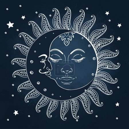 Sun and moon. Vintage engraving style.