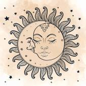 Sun and moon Illustration in vintage style
