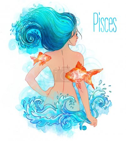 Pisces astrological sign as a beautiful girl