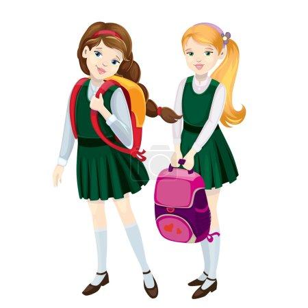 Illustration pour Écolières - image libre de droit