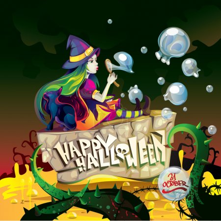Illustration for Witch with soap bubbles - Royalty Free Image
