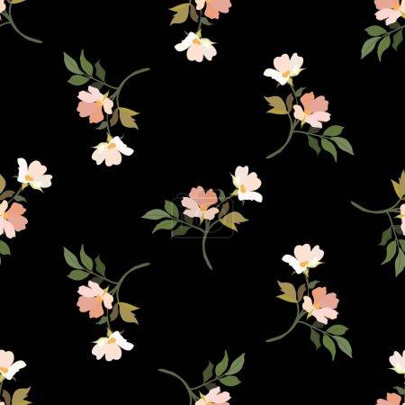 Illustration pour Fleurs anciennes. Modèle sans couture. Une branche d'un arbre en fleurs. Illustration isolée vectorielle plate. Couleurs pastel. - image libre de droit