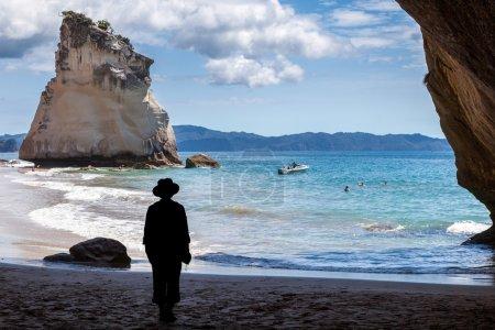HAHEI, NEW ZEALAND - FEBRUARY 9 : Cathedral Cove beach near Hahe