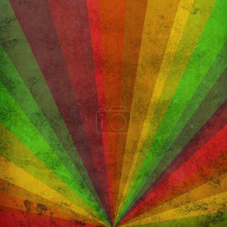 Photo pour Rayons de soleil multicolores fond grunge, poster vintage - image libre de droit