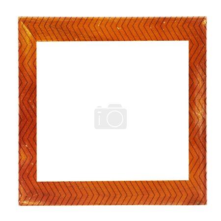 Photo pour Cadre photo vintage en bois, fond blanc, chemin de coupe - image libre de droit
