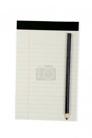 Notebook with pencil on white