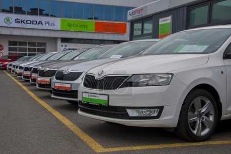 Skoda cars in row