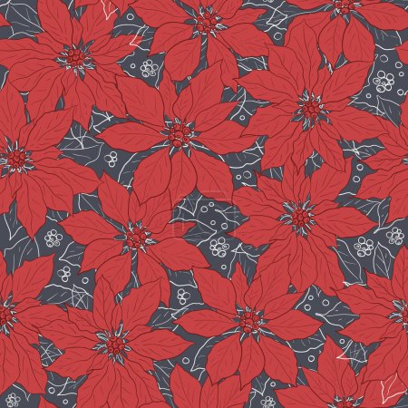 Illustration for Vector grey red poinsettia flower seamless pattern print background. Perfect for fabric, wallpaper, invitation, greeting card, scrapbooking projects - Royalty Free Image