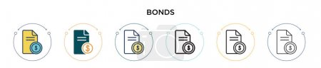 Bonds icon in filled, thin line, outline and stroke style. Vector illustration of two colored and black bonds vector icons designs can be used for mobile, ui, web