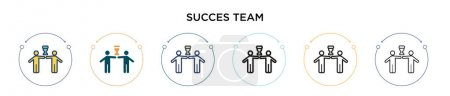 Succès icône de l'équipe dans rempli, ligne mince, contour et style de course. Illustration vectorielle de deux conceptions vectorielles d'équipe de succes colorés et noirs peut être utilisé pour mobile, ui, web