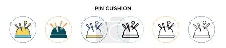 Illustration pour Icône de coussin d'épingle dans le style rempli, ligne mince, contour et trait. Illustration vectorielle de deux icônes vectorielles de coussin de broche colorées et noires peut être utilisé pour mobile, ui, web - image libre de droit