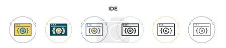 Illustration pour Icône Ide dans rempli, ligne mince, contour et style de course. Illustration vectorielle de deux icônes vectorielles ide colorées et noires peut être utilisé pour mobile, ui, web - image libre de droit