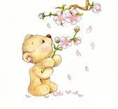 Teddybär und Blumen