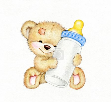 Teddy bear with bottle of milk