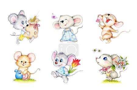 Set of six cute mice...