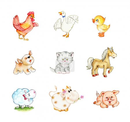 Photo for Set of funny farm animals - Royalty Free Image