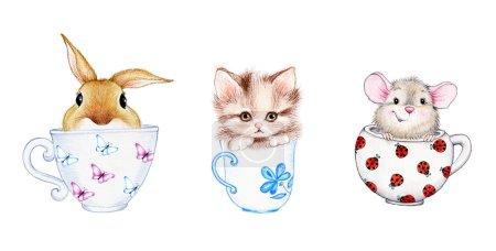 Set of cute animals in the caps...
