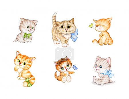 Photo for Cute kittens cartoon, six illustration - Royalty Free Image