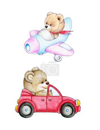 Foto de Conjunto de dos lindos osos de peluche - Imagen libre de derechos