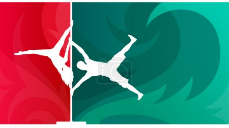 Pole dance duet. White vector silhouettes of man and woman performing acrobatic moves on the pole on abstract background.