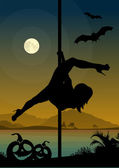 Black vector silhouette of female pole dancer performing pole moves in front of river and full moon at Halloween night