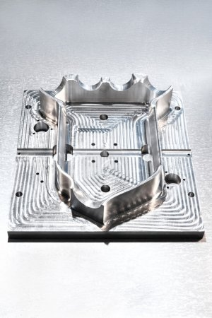 Industrial metal mold blank. Metalworking. CNC technology.