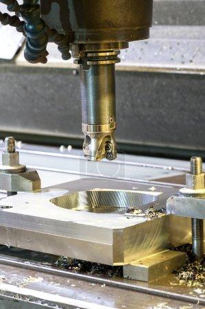 Square industrial metal mold/blank milling. Metal engineering.