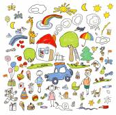 Set of drawings in child like style Vector color illustration