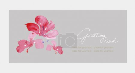 Illustration for Floral Thank you card with beautiful realistic spring pink flowers and banner with drop shadows on a beige elegant background in modern style. Perfect for wedding, greeting or invitation design - Royalty Free Image