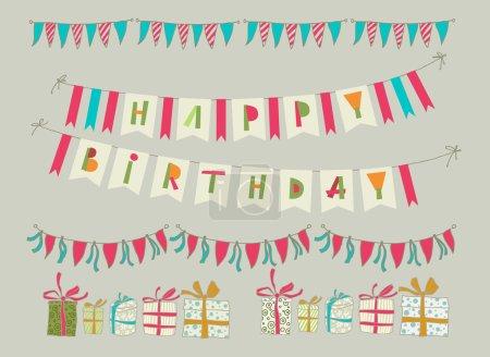 Ilustración de Conjunto de elementos de fiesta de cumpleaños de vector. 10 EPS. Guirnalda de banderas con texto - Imagen libre de derechos