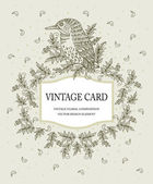 Vintage card in pastel colors with a stylized bird Vector illustration