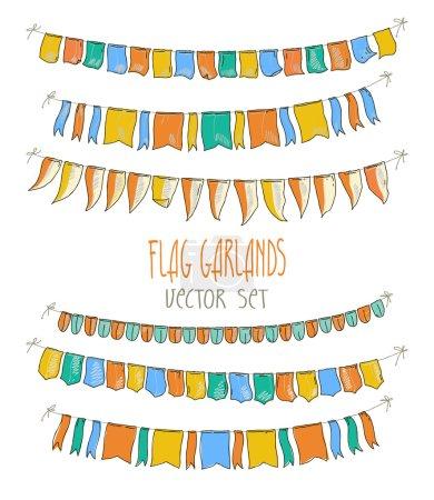 Ilustración de Ilustración de vector de guirnaldas de colores de la bandera sobre fondo blanco. Retro colores empavesados con banderas. Vacaciones establecido. Ilustración de dibujo de mano - Imagen libre de derechos