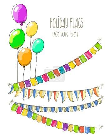 Ilustración de Vector ilustración de guirnaldas de colores de la bandera y aire globos sobre fondo blanco. Retro colores empavesados con banderas. Vacaciones establecido. Ilustración de dibujo de mano - Imagen libre de derechos