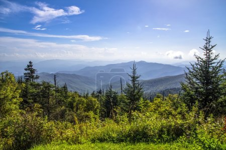 Photo for View from the summit of Clingmans Dome over layers of the Blue Ridge Mountains.  At over 6000 ft above sea level this is the highest point of the Great Smoky Mountains National Park and the Appalachian Trail. - Royalty Free Image