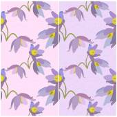 Set of seamless patterns with primroses on a pink and violet backgrounds Vector eps 10