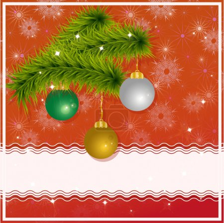 Christmas greeting card with christmas tree, christmas balls and place for your text. Vector eps 10.