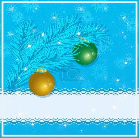 Christmas greeting card with christmas tree, christmas balls and place for your text on a blue background. Vector eps 10.