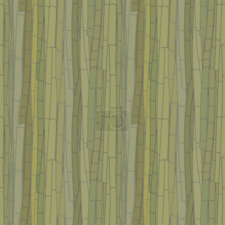 Darkened seamless pattern of bamboo stalks in shades of green. Vector eps 10.