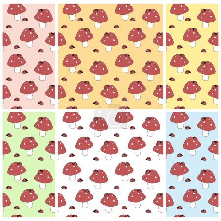 Set of baby seamless patterns with amanitas and la...