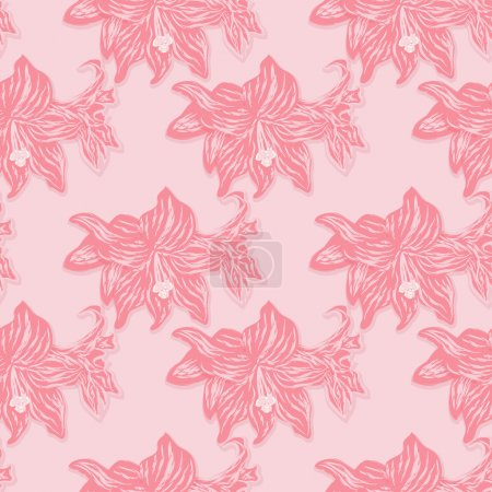 Bright seamless floral pattern of red lilies on a pink background. Vector eps 10.