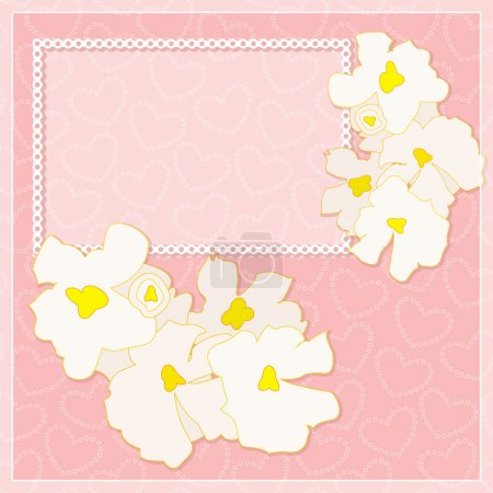 Vector frame with white flowers on a pink background with hearts. Can be used for greeting and invitation. Eps 10.
