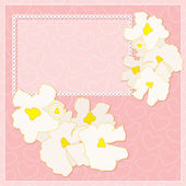Vector frame with white flowers on a pink background with hearts Can be used for greeting and invitation Eps 10