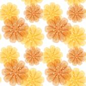 Vector seamless pattern with orange and yellow abstract flowers on a white background Eps 10