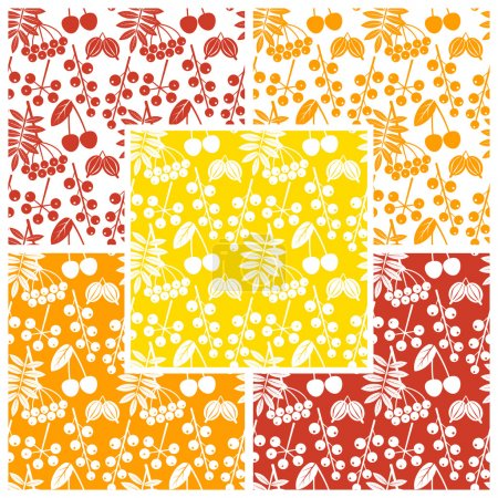 Vector set of seamless patterns with outline of different berries in different colors. Eps 10.