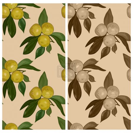 Set of darkened seamless patterns of the branches with mandarins on a beige background. Eps 10.