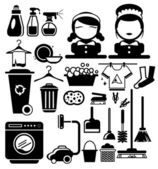 Vector Black Cleaning icons set Housewife vector